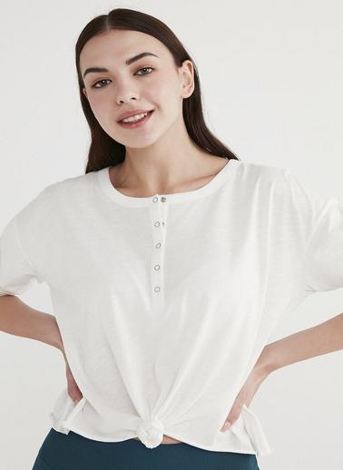 Penti Beyaz Knotted Long Sleeve Tişört Beyaz